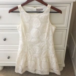Ivory Embroidered Banana Republic Dress 0 petite